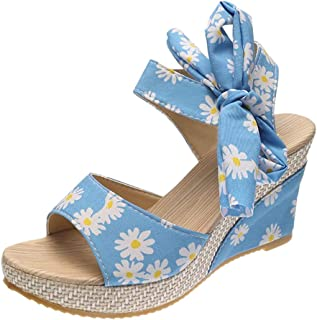 Padaleks Women's Wedge Platform Slide Comfort Ankle Strap Sandals Summer Daisy Printed Casual Espadrilles Shoes