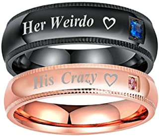 a978e54e83 Romantic Stainless Steel Men's Women's Her Weirdo His Crazy Couple  Anniverary Valentine Ring Heart Cubic Zirconia