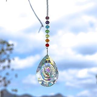 MerryNine Newly Designed Prism, Ab-Color K9 Crystal Colorful Light Prism, Longan-Shaped Chandelier Glass, Crystal Pendant,...