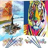 2 Set Pintar por Numeros para Adultos Niños Pintura por Números con Pinceles y Pinturas Decoraciones,Kit de pintura al óleo para adultos,Tigre colorido y Árbol colorido (16*20 Pulgadas, Sin Marco)