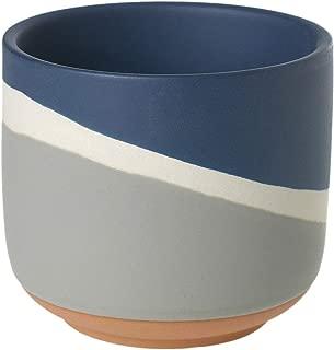 Navy Blue Color Block Ceramic Planter, 4