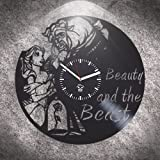 Kovides Belle Movie 2017, Beauty and The Beast, Wall Clock Large, Birthday Gift for Kids, Vinyl Wall Clock, Handmade, Best Gift for Girl, Vinyl Record, Silent Mechanism, Wall Clock Modern