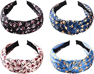 Top Cross Knot Headband for Women - Four Leaf-clover Hair Bands with Flower Printing - Non Slip Wide Hard H...