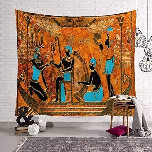 QAZX Tapiz Mural Tapiz Egipcio Antiguo Colgante de Pared Oro Naranja y Azul Tela de poliéster Rectangular Grande Art Deco Sala de Estar Dormitorio 200x150cm