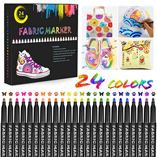 Gifort 24 Colours Fabric Pens, Non-erasable, Permanent and Washable Fine Point Fabric Markers Pens