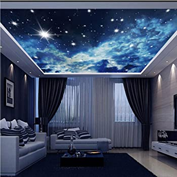 Agminate Dark Stars 3D Ceiling Mural Full Wall Photo Wallpaper Print Home Decor