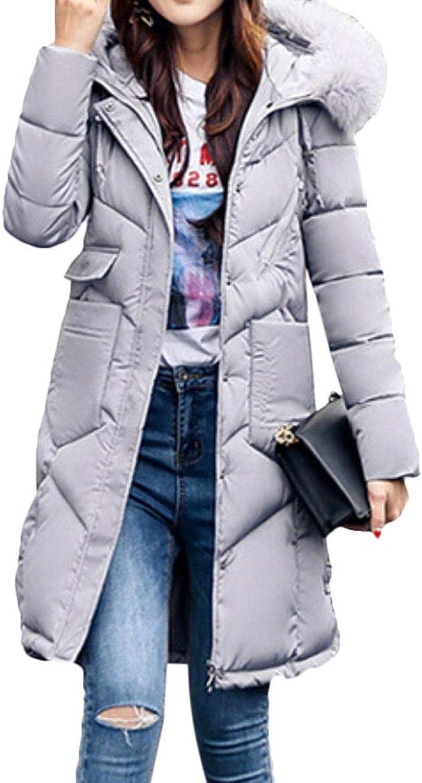Gocgt Women Thicken Down Coat Long Parka Puffer Jacket Coat with Faux Fur Hood