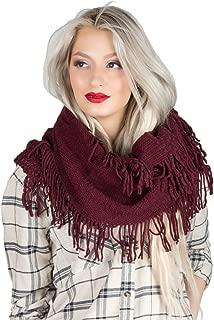 Women's Fashion Soft Warm Knit Infinity Scarf Tassel Ends Shawl Wrap