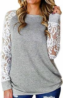 HIRIRI Women Fashion Lace Floral Splicing O-Neck T-Shirt Tops Long Sleeve Tunic Shirt