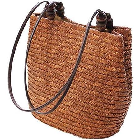 ACAMPTAR Gestrickte Stroh Tasche Sommer Boehmen Mode Frauen Handtaschen Streifen Umhaengetaschen Strandtasche grosse Tragetaschen ()