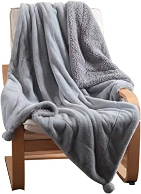Faux Rabbit Fur Throw Blanket Double Layer Warm Super Soft Sherpa Quilt for Couch/Sofa/Bed with Pompom(59'' x 79'', Grey)