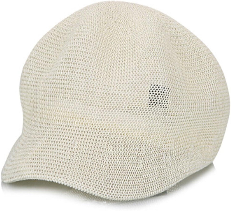 NUBAO Hat Female Shade Octagonal Cap Leisure Breathable Thin Net Cap Cap Beret Straw Hat (color   Khaki)