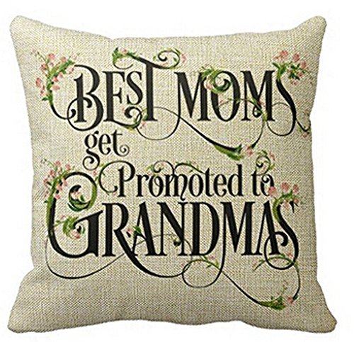 Andreannie Best Best Moms Get Promoted to Grandmas Blessing Flower Characters Cotton Linen Throw Pillow Case Cushion Cover Home Office Decorative Square 18 X 18 Inches (Insert Not Include)