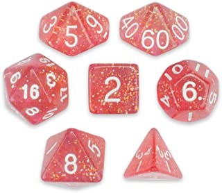 Wiz Dice 7 Die Polyhedral Dice Set - Royal Bubblegum (Pink Glitter) with Velvet Pouch