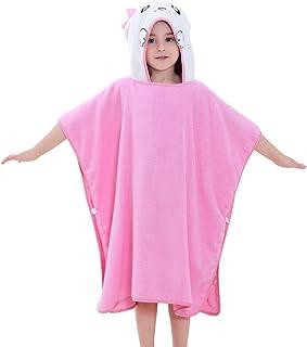 IDGIRLS Kids Cotton Terry Bath Towels Cute Animal Hooded Poncho for Girls Boys Bathing Swim Beach Bathrobes Pink