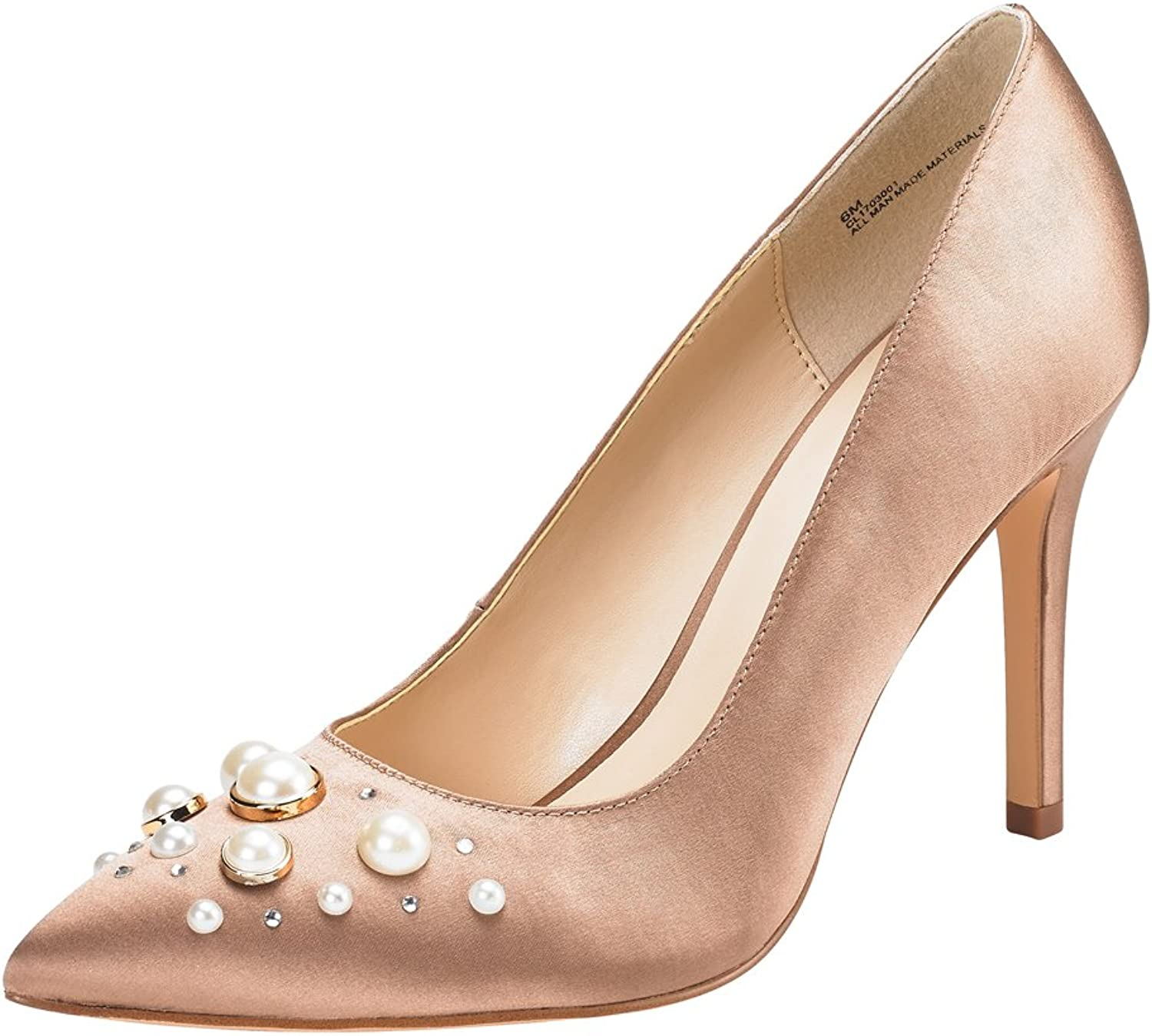 JENN ARDOR Stiletto High Heel shoes for Women  Pointed, Closed Toe Classic Slip On Pearl Dress Pumps