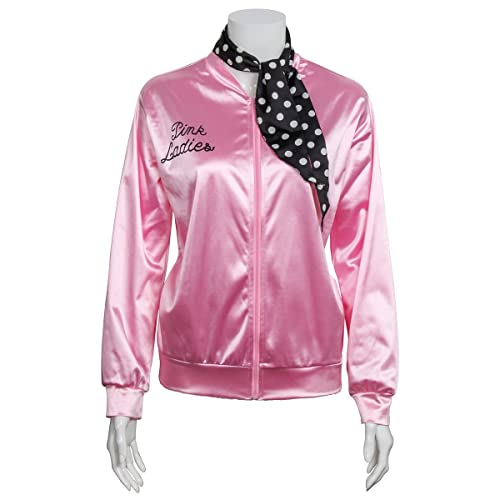 cec196d5107a 1950s Pink Satin Jacket with Neck Scarf Girls Women Halloween Costume Fancy  Dress Props