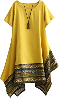 Women's Ethnic Cotton Linen Short/Long Sleeves Irregular Dress