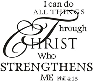 CUGBO Wall Stickers I Can Do All Things Through Christ Who Strengthens Me Wall Decal Quotes Vinyl Removable Mural Rooms Home Decor
