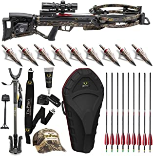 TenPoint Shadow NXT 390 FPS Crossbow Elite Hunter's Bundle with Stag Hard Case, Pro-View 2 Scope, Shooting Stick, Quiver, 9 Arrows with NAP Broadheads, Sling, Hat, and Rail Lube (10 Items)