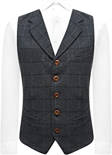 Aegean Blue Herringbone Check Waistcoat with Lapel, Tweed