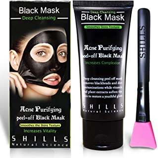 SHILLS Charcoal Black Mask, Peel Off Mask, Charcoal Mask, Black Peel Off Mask, Deep Cleansing, Purifying, Activated Charcoal Black Mask with Brush