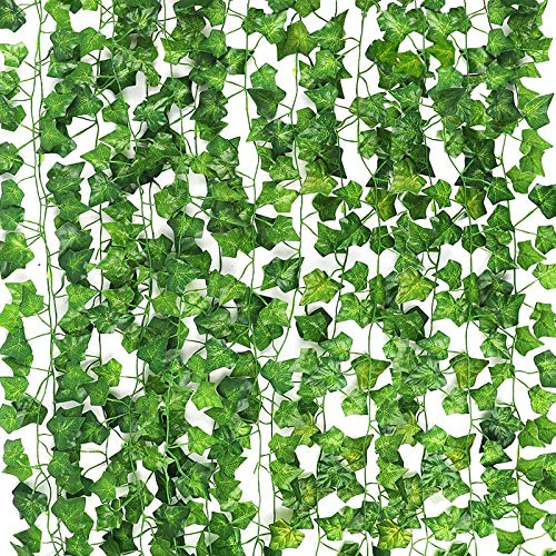 CEWOR 14 Pack 98 Feet Fake Ivy Leaves Artificial Ivy Leaves Greenery Garlands Hanging Plant Vine for Wedding Party Garden Wall Decoration