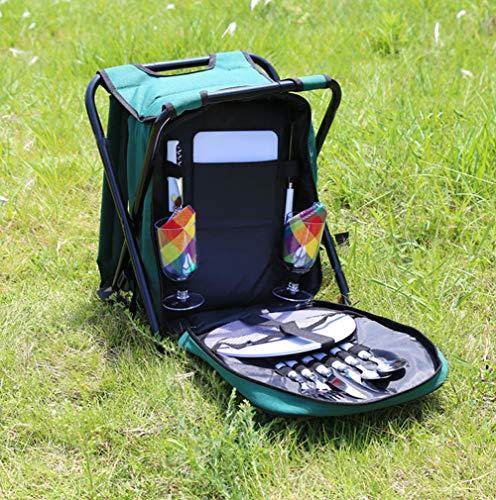 Mochila Picnic Taburete De Pesca Bolsa De Picnic con Cubiertos Completos De Acero Inoxidable Taburete De Camping Plegable Bolsa De Picnic con Aislamiento Más Fresco 2 Personas Los 41X31X29CM