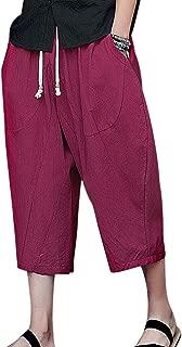Leorealko Summer Men Shorts Solid Color Loose Harem Pants Casual Beach Shorts
