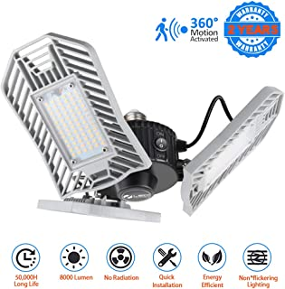 LED Garage Lights Motion Activated 8000 Lumen 80W LED Shop Lights for Garage with 3 Adjustable Panels E26 Garage Lighting for Garage Basement Workshop