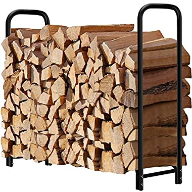 4ft Outdoor Firewood Log Rack for Fireplace Heavy Duty Wood Stacker Holder for Patio Deck Metal Kindling Logs Storage Stand Steel Tubular Wood Pile Racks Outside Fire place Tools Accessories Black