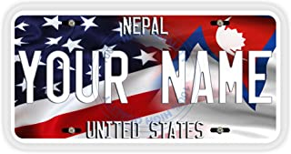 BleuReign(TM Personalized Mixed USA and Nepal Flag Car Vehicle License Plate Auto Tag