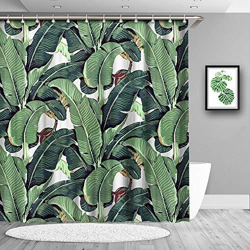 Duschvorhang, Polyester, wasserdicht, schimmelresistent, antibakteriell, mit 12 Vorhanghaken, 180 x 180 cm Banana Leaf