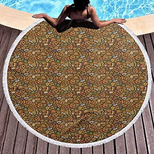 Toalla de playa sin arena Toalla de playa de gran tamaño alemana Estilo de dibujos animados Lindo patrón de Deutschland con lúpulos de bandera y pretzels Doodle dibujado a mano Suave, a prueba de deco