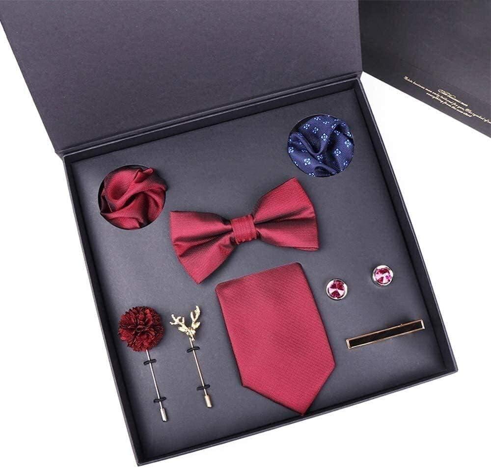 Men's Gift Tie Set Silky Necktie Pocket Squares Tie Clips Cufflinks for Men Men Ties Handkerchief Cufflinks Necktie Set for Formal Wedding Business Party Set Gift Box Pack