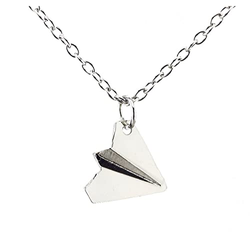 LilMents Little Paper Airplane Stainless Steel Mens Womens Unisex Necklace