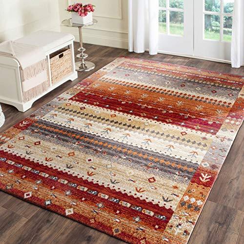 Taleta Moderner Gabbeh Teppich Wohnzimmer mit Hochflor Bordüre bunt Muster Rust Rot Mehrfarbig, Größe:90 x 160 cm