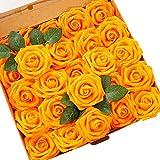 Ksnnrsng Flores Rosas Artificiales Espuma Rosa Falsa para Manualidades, Ramos de Novia, centros de Mesa, Despedidas de Soltera y Decoración del Hogar (25 Piezas, Naranja)