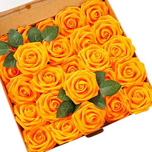 Künstliche Rosen Blumen Schaumrosen Foamrosen Kunstblumen Rosenköpfe Gefälschte Kunstrose Rose DIY Hochzeit Blumensträuße Braut Zuhause Dekoration (25 Stück, Orange)