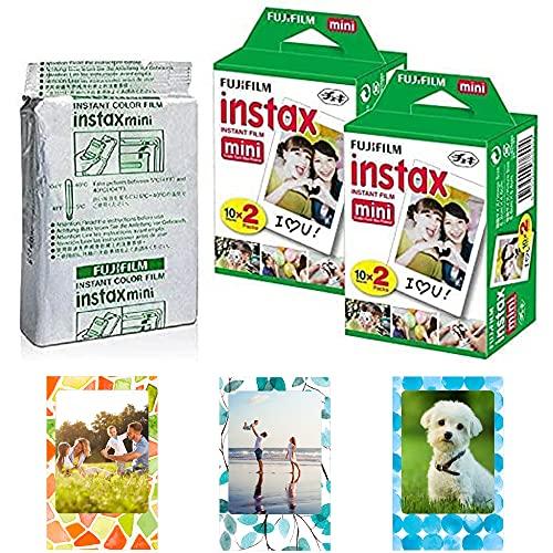 Fujifilm Instax Mini Instant Film,10 Sheets×5 Pack(Total 50 Shoots) + 3 Photo Magnet Frames [Bulk Packaging] International Version
