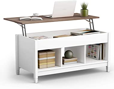 TANGKULA Coffee Table Lift Top Wood Home Living Room Modern Lift Top Storage Coffee Table w/Hidden Compartment Lift Tabletop Furniture (White)