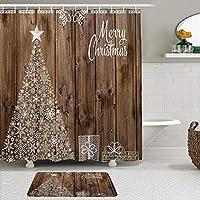 WOTAKA シャワーカーテン バスマット 2点セット 休日のテーマクリスマススノーフレーク素朴な木製の背景と雪片星の木パーティーのお祝い 自家 寮用 ホテル 間仕切り 浴室 バスルーム 風呂カーテン 足ふきマット 遮光 防水 おしゃれ 12個リング付き