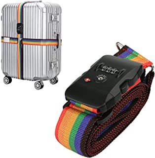 TSA Travel Luggage Strap with Approved Lock,Adjustable Suitcase Belt Rainbow by LC-dolida