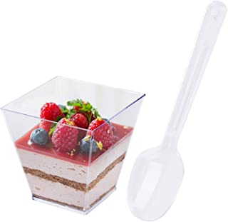 Tosnail 80 Pack 3.5 Oz Square Clear Plastic Mini Dessert Tumbler Cups with Dessert Spoons