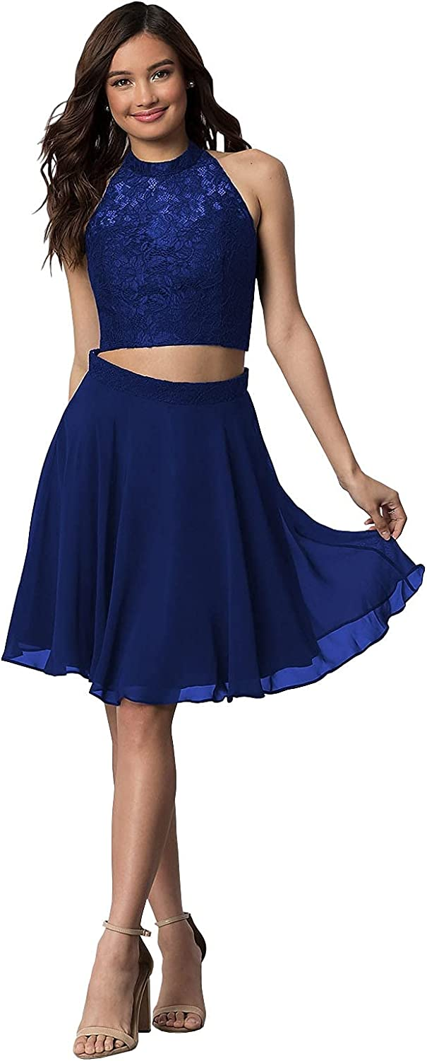 Two Piece Short Homecoming Dresses for Girls Sleeveless Lace Top A Line Chiffon Mini Graduation Dresses for Juniors