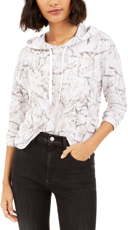 bar III Womens Sweater Medium Marble Hooded Pullover White M