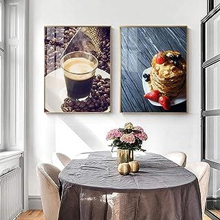 EDGIFT2 Póster de Restaurante de Comida, Pastel de café, Arte de Pared, Lienzo Impreso,..