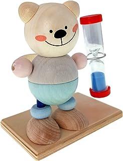 Hess träleksak 14532 – tandbordsklocka av trä, björn natur, timglas med färgad sand för barn, ca 9 x 7 x 10 cm