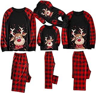 Pijamas Navidad Familia Conjunto Dos Piezas Reno Camisetas De Manga Larga y Pantalones de Cuadros para Mujer Hombre Niño Niña Bebe Pareja
