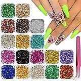 EBANKU 18 color Nail Art Vidrio triturado Piedras de uñas Irregular Decoración de Diamantes de imitación, mezcla de uñas de vidrio triturado para decoración irregular(B)
